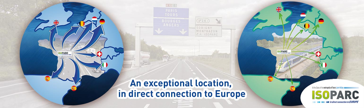 ISOPARC, the industrial and tertiary activities Park (logistics, factory, services, production...) In direct connection to Europe with the motorways A10 A28 A85 and the high-speed railway lines, TGV