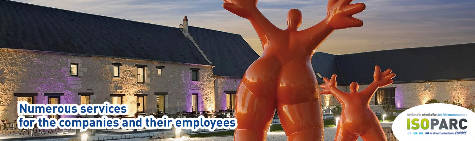 ISOPARC, numerous services for the companies (logistics, factory, services, production...) and their employees: restaurant, companies day-nursery, heliport, truck stop, hotel... at the gates of the metropolis of Tours Loire Valley France, in direct connection to Europe